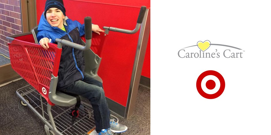 A photo of a boy sitting in a cart, to the left of the Caroline's Cart logo and Target Bullseye logo