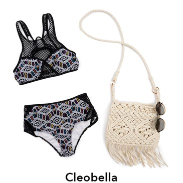 Cleobella Black and White one piece suit with crochet bag and sunglasses