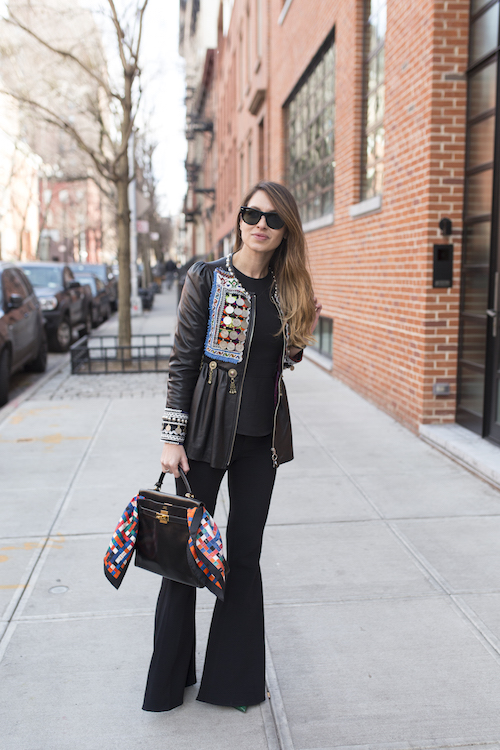 Fashion blogger Beatriz Jimenez poses on the street during New York Fashion Week