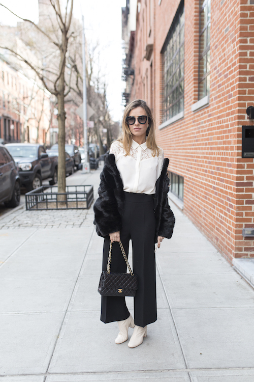 Blogger and TV host Marta Carriedo poses on the street during New York Fashion Week