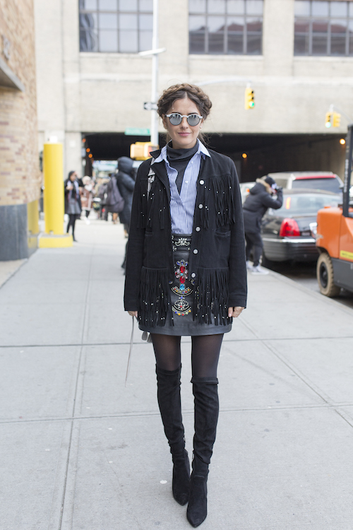 Blogger Paola Alberdi poses on the street during New York Fashion Week
