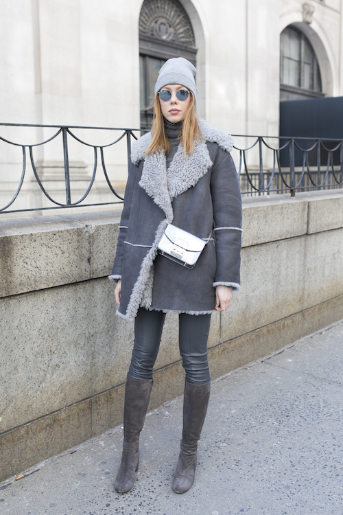 Blogger and fashion coordinator Maria Jernov poses on the street during New York Fashion Week