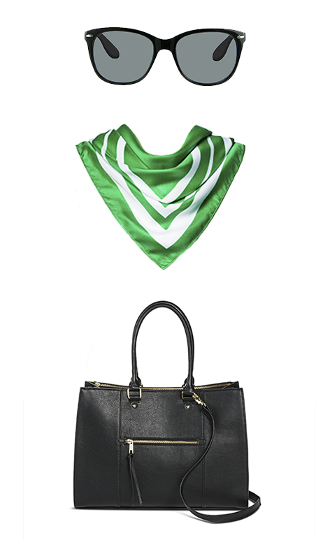 Sunglasses, a green and white scarf and black handbag inspired by Beatriz's NYFW look