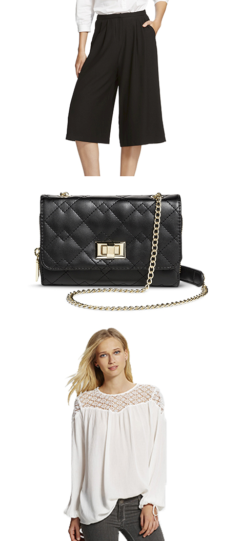 Black culottes, a black quilted faux leather handbag and white blouse inspired by Marta's NYFW look