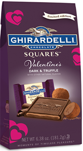 A purple bag of Ghirardelli Dark & Truffle Squares