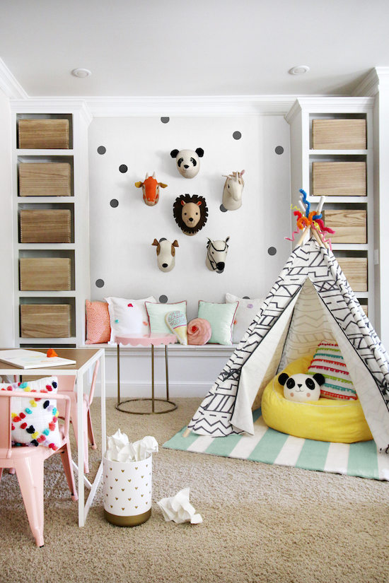 Makeover your space with pillowfort three bloggers show for Kid friendly family room design