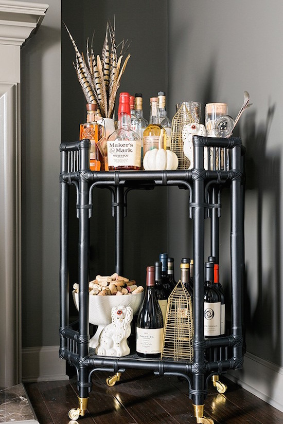 Bar cart with Nate Berkus decor