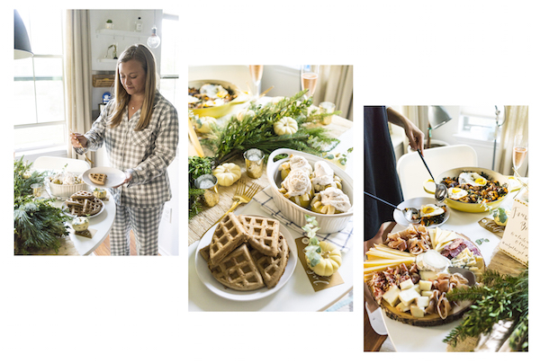 Collage of images from Jane Ko's Friendsgiving brunch