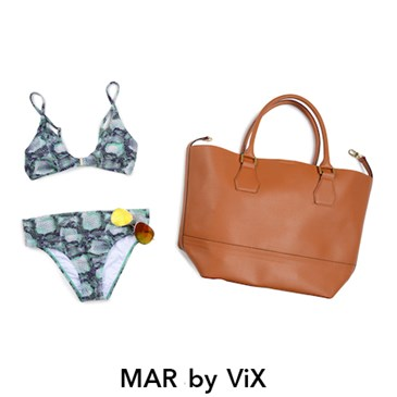 MAR by ViX patterned bikini with tan leather beach bag