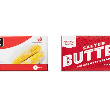 A package of the old Market Pantry butter next to the new.