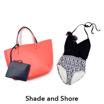 Shade and Shore black and white one piece with red tote and black pouch