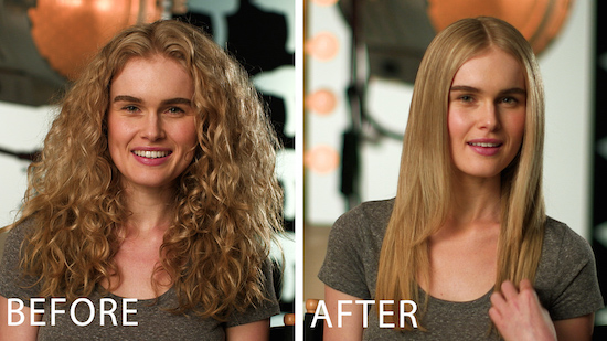 Before and after sleek and straight hair style