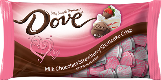 A pink bag of Dove Promises Strawberry Shortcake Crisp