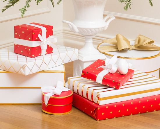 Red and white Sugar Paper wrapping paper and boxes