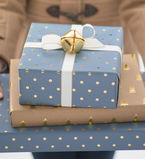 Gift boxes wrapped in blue and gold Sugar Paper wrapping paper