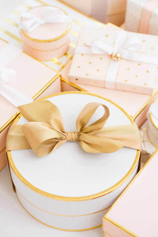 Pink and gold Sugar Paper holiday boxes