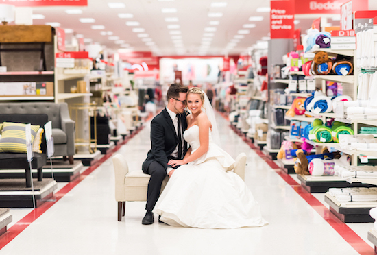 Lauren and Corey in their wedding outfits at Target