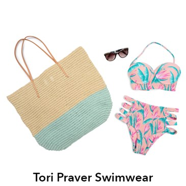 Tori Praver Seafoam multicolor bikini and green and tan straw tote