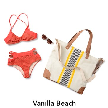 Vanilla Beach red bikini with black yellow and tan tote bag