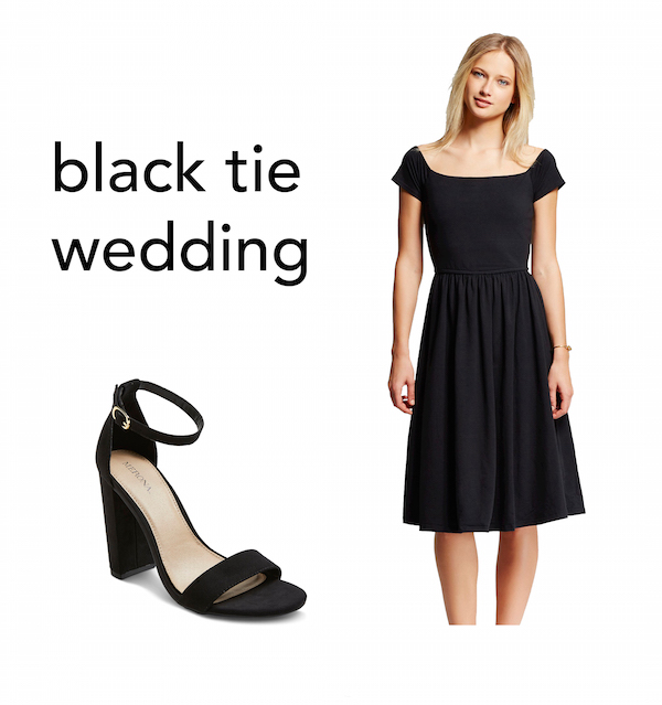 black tie wedding outfit collage with a midi length black off the