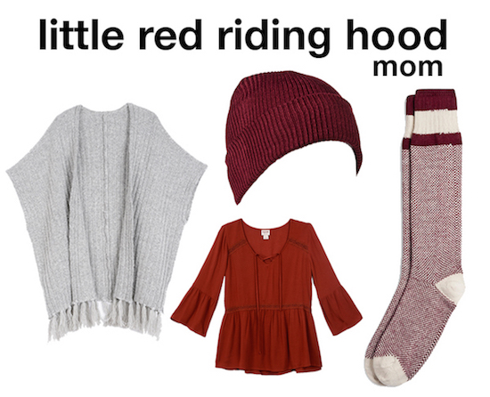 Red riding hood outfit selects for mom