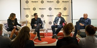 Target's VP of product design Greg Van Bellinger chats with Dwell's Nick Dine and Christopher Deam
