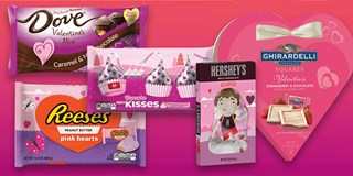 A variety of Target-exclusive Valentine's candy against a pink background.