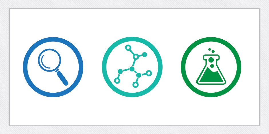 Three icons in circles, a blue magnifying glass; a teal dna strand, and a green beaker