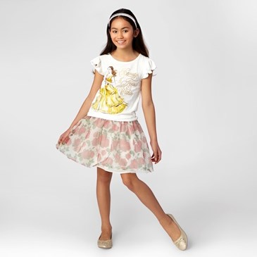 Child wearing Rose Tutu Skirt and Belle Tee