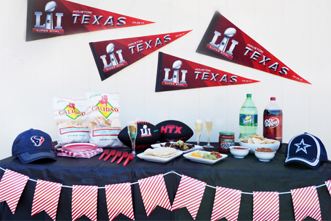 Lynne's full spread, featuring decorations, food and football gear