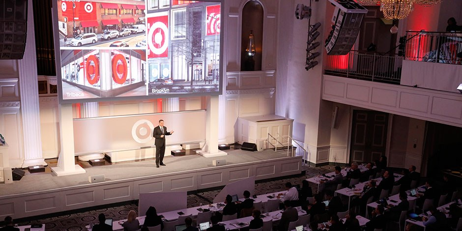 CEO Brian Cornell addresses the audience during Target's 2017 Financial Community Meeting in NYC