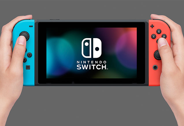 The Nintendo Switch gaming console in handheld mode