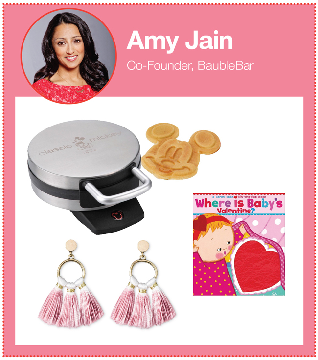 "BaubleBar co-founder Amy Jain's picks: Mickey Mouse waffle maker, earrings and ""Where is Baby's Valentine"" book"