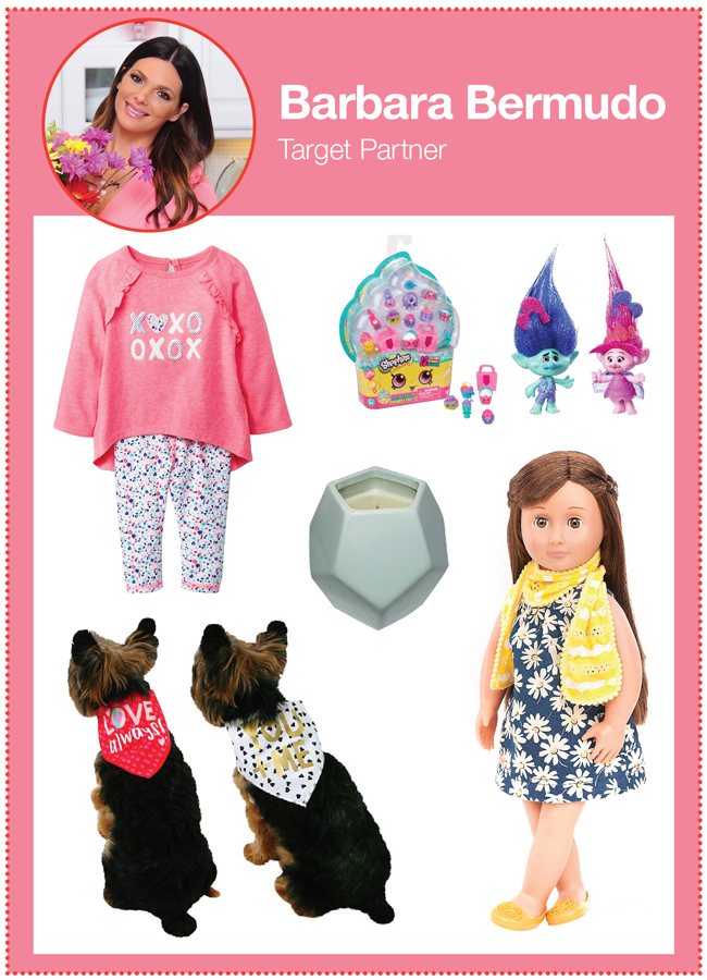 Target partner Barbara Bermudo's picks: XOXO infant outfit, Trolls toy set, candle, Our Generation doll, and puppy bandanas