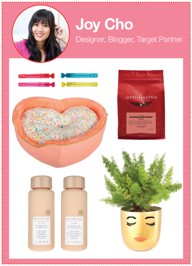 Designer and blogger Joy Cho's picks: bubbles, coffee, a pet bed, shampoo set and golden face planter