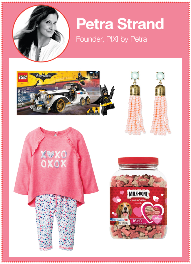 PIXI by Petra founder Petra Strand's picks: Batman LEGO set, earrings, XOXO infant outfit, and canister of Milk Bone treats