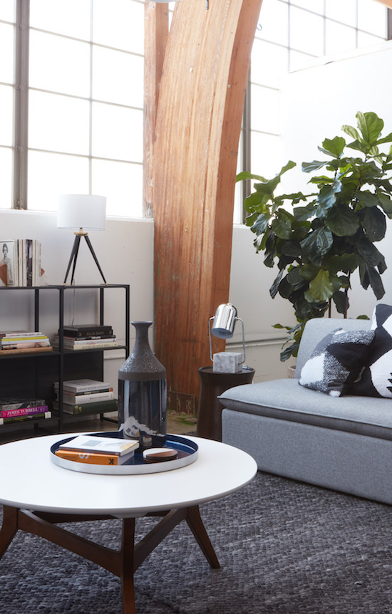 Living room set up with two-tone coffee table