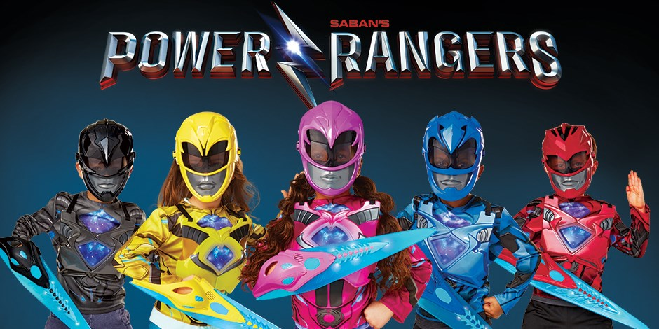 five kids dressed in power rangers role play gear with a sabans power rangers logo