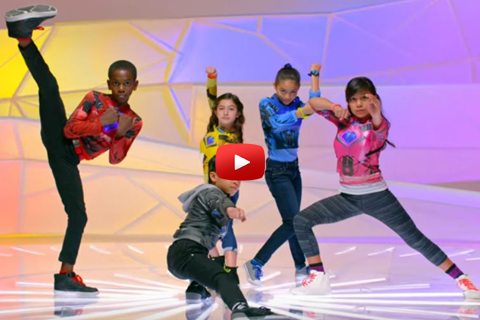 Five kids pose as Power Rangers against a colorful background