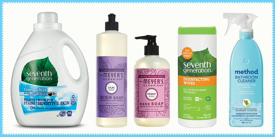 A row of natural cleaning products, including laundry, dish and hand soap, wipes and cleaner