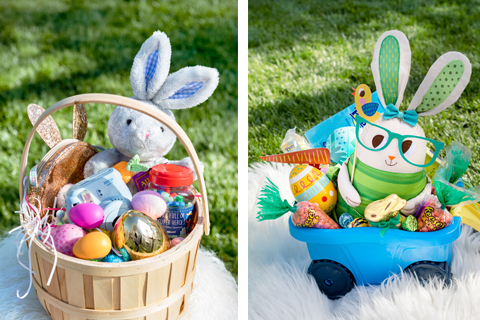 Two cute Easter baskets, filled with plush bunnies, treats and more.