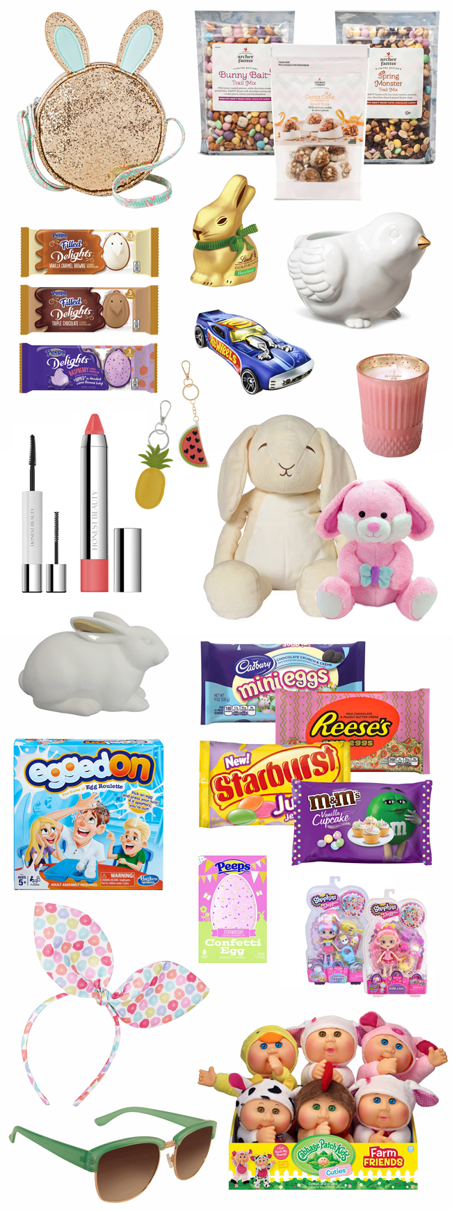 Tons of fun Easter basket fillers, from glittery bunny purse to snack mixes, candy, make-up and more.