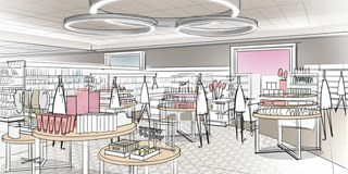 A sketch showing Target's reimagined beauty, jewlery and accessories display in the Houston store.