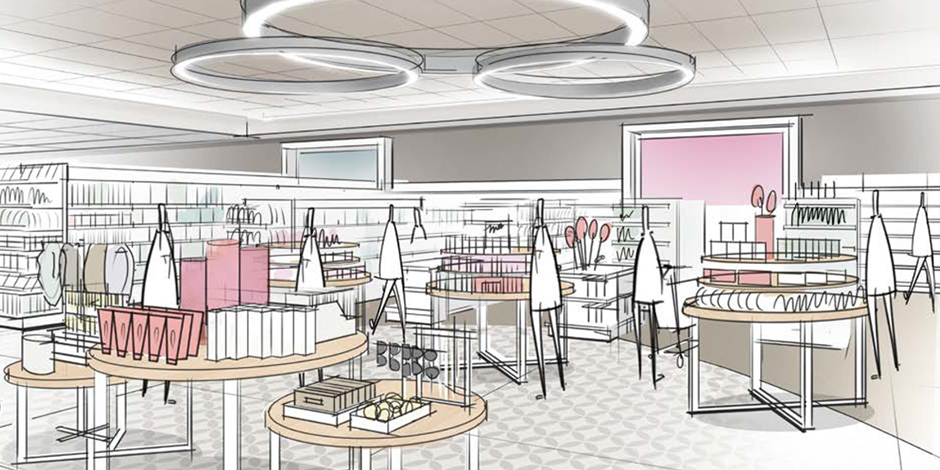 A Sketch Showing Targetu0027s Reimagined Beauty, Jewlery And Accessories  Display In The Houston Store.