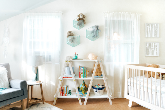 Cloud Island book shelf and other products in the new nursery