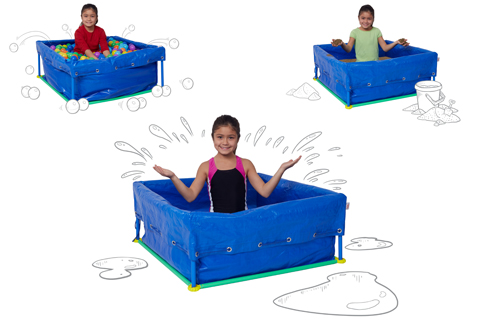 A child plays in three different versions of the kit: a ball pit, sand box and kiddie pool.