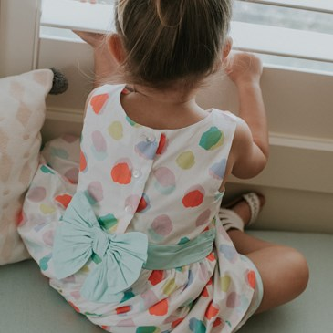 The bow on the back of Sutton's Easter dress