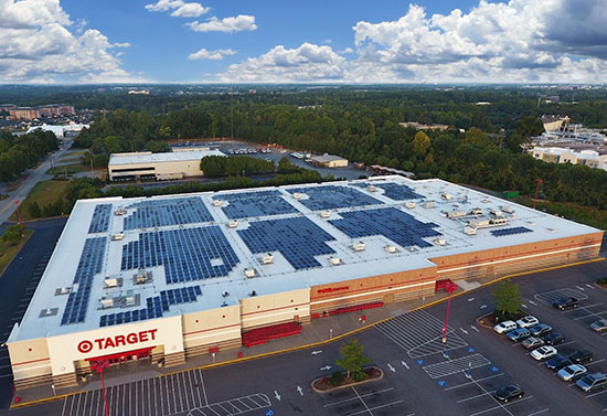 Solar panels on a store roof