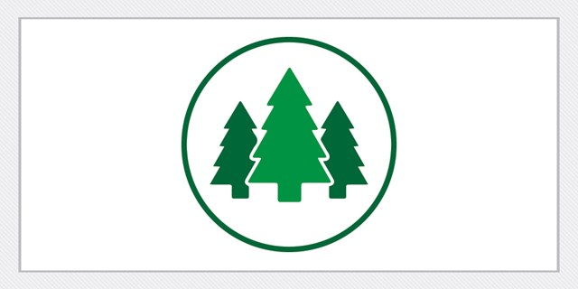 A green circular icon with three green pine tree graphics inside