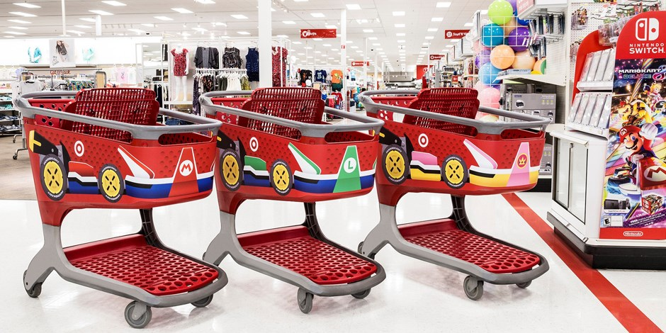 Three Target carts branded as Mario, Luigi and Princess karts